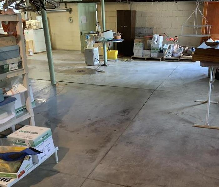 Concrete basement floor free from water