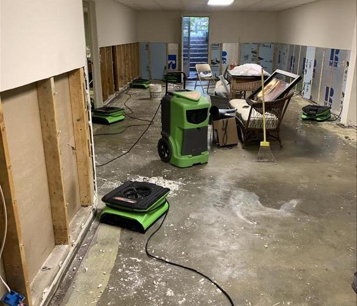 Concrete floor with green drying machines